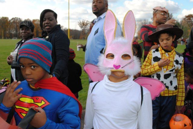 Young Kids in Superman and Bunny Costume