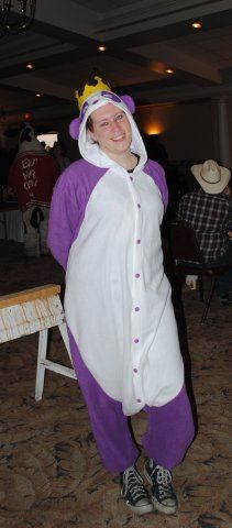 Volunteer in Purple Panda Costume