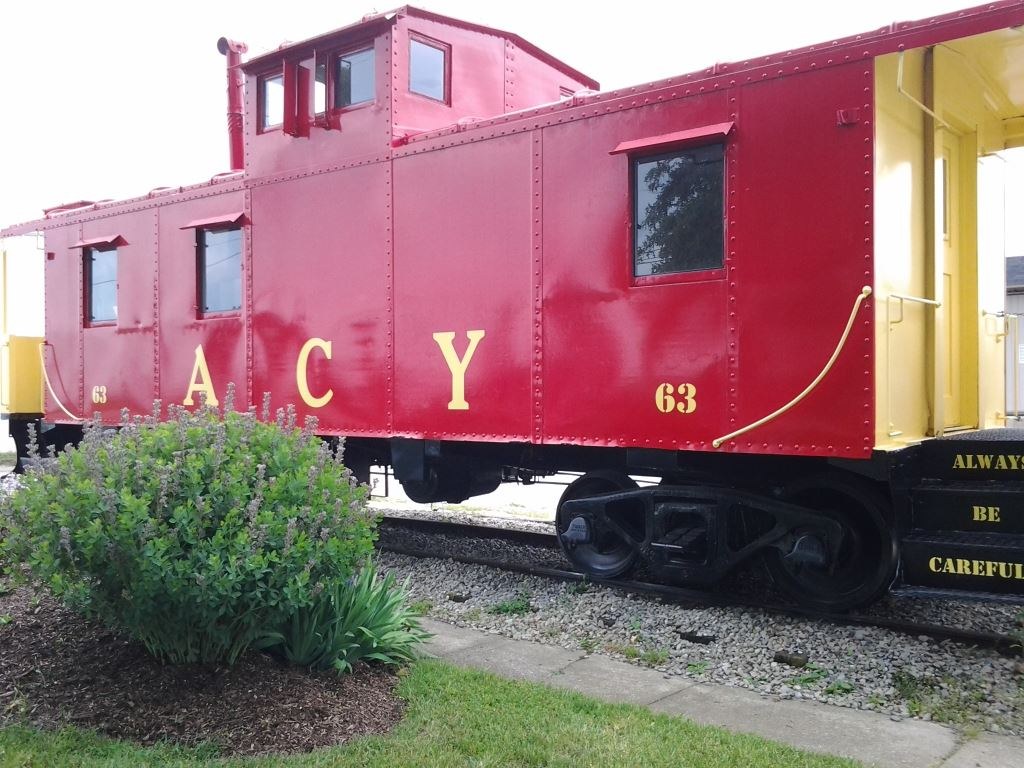 Caboose of Copley Train at Historical Society Building