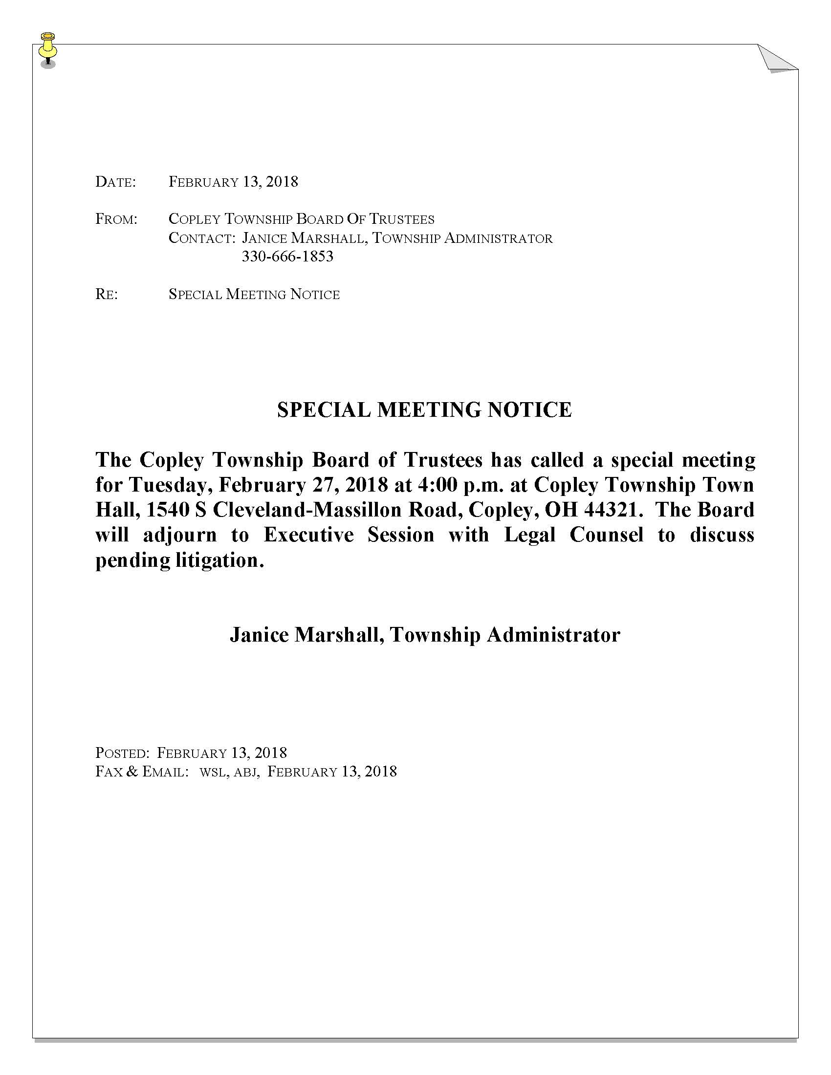 Special Meeting Notice 2-27-2018