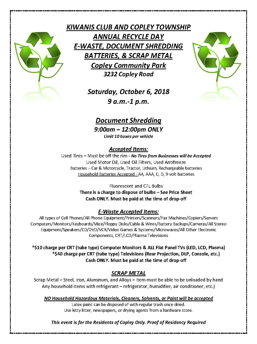 Copley Township Oh Wiring 9 Volt Batteries In Series 2018 Flyer Recycle