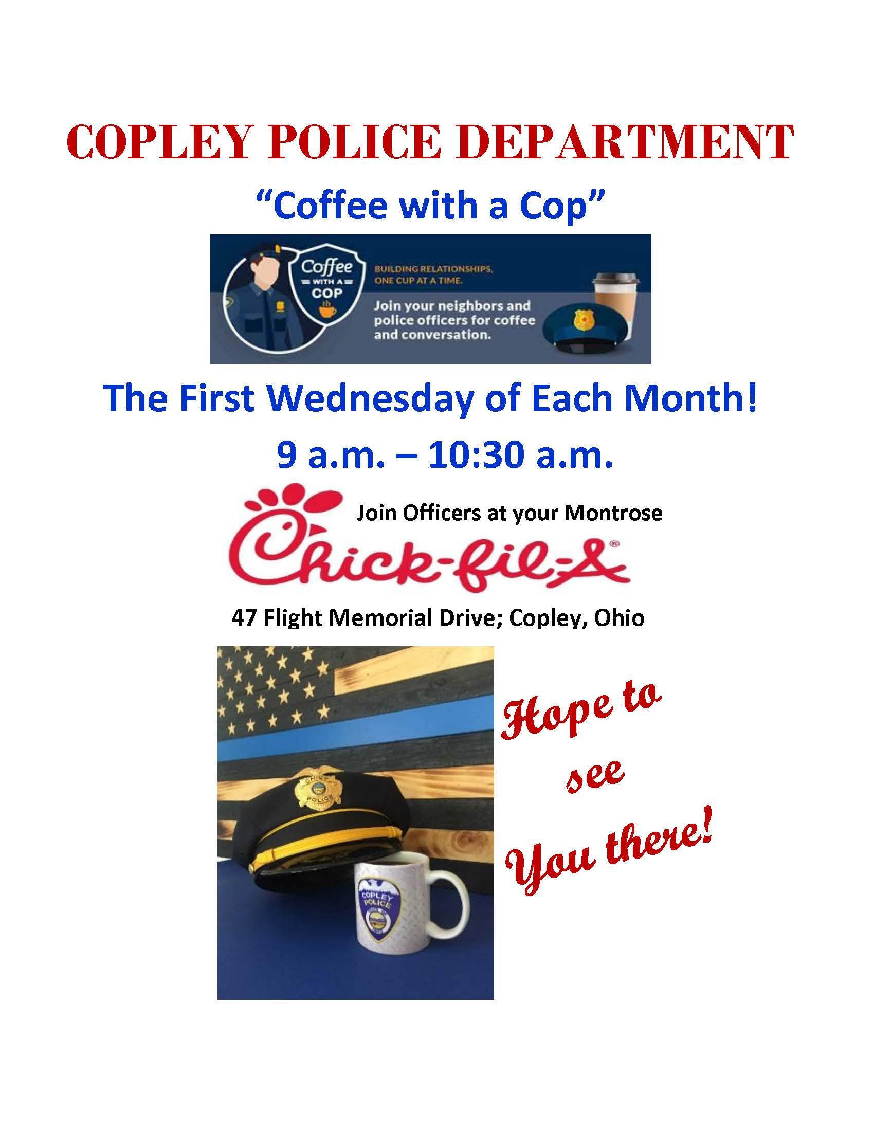 COFFEE WITH A COP FLIER - first of each month