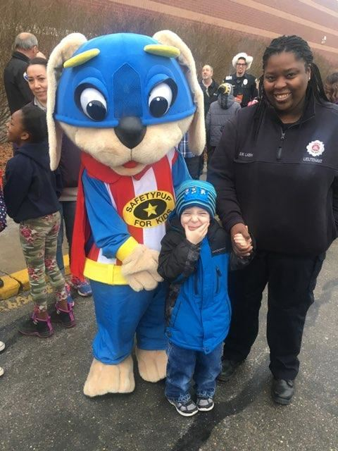 Safety Pup mascot, Officer and young boy