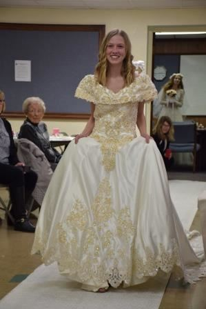 Girl modeling wedding dress