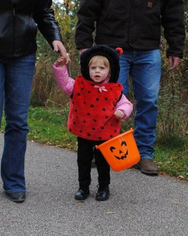 Young Lady Bug with Candy Bag