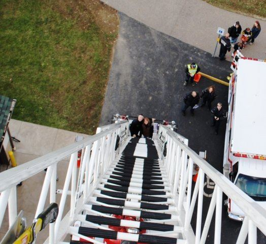 Looking Down Fire Truck Ladder