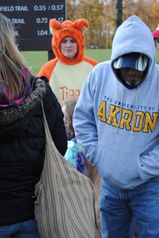 Man in Akron Hoodie Waits in Line