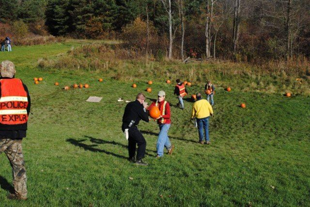 Officers Walk Pumpkins Back Up Hill