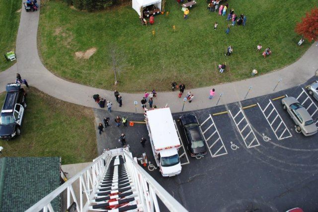 View Looking Down From Fire Truck Ladder