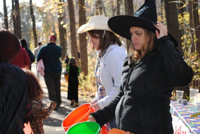 Volunteers Give Out Candy