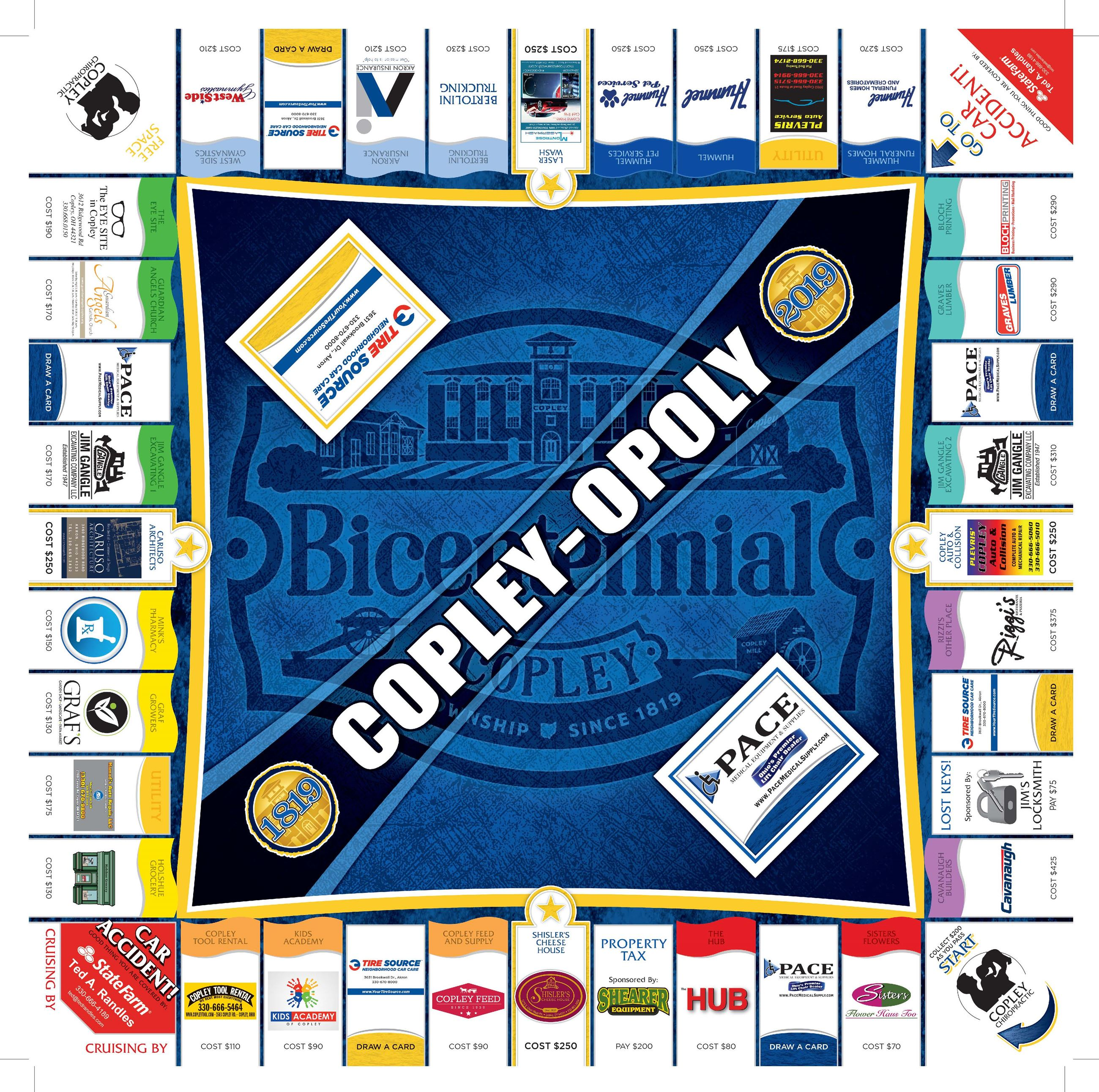 COPLEY-OPOLY Game Board