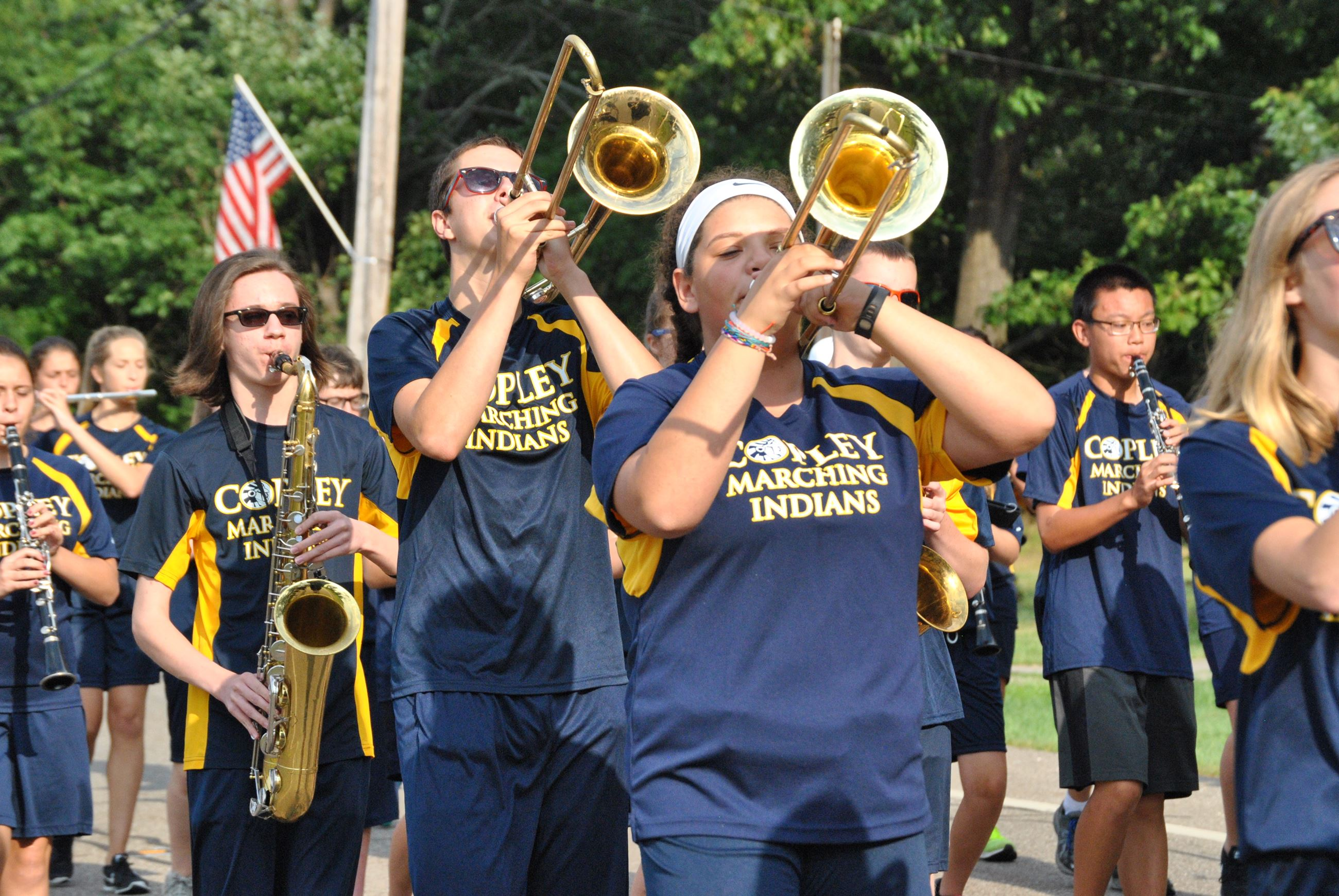 Copley Band Member Marching in parade