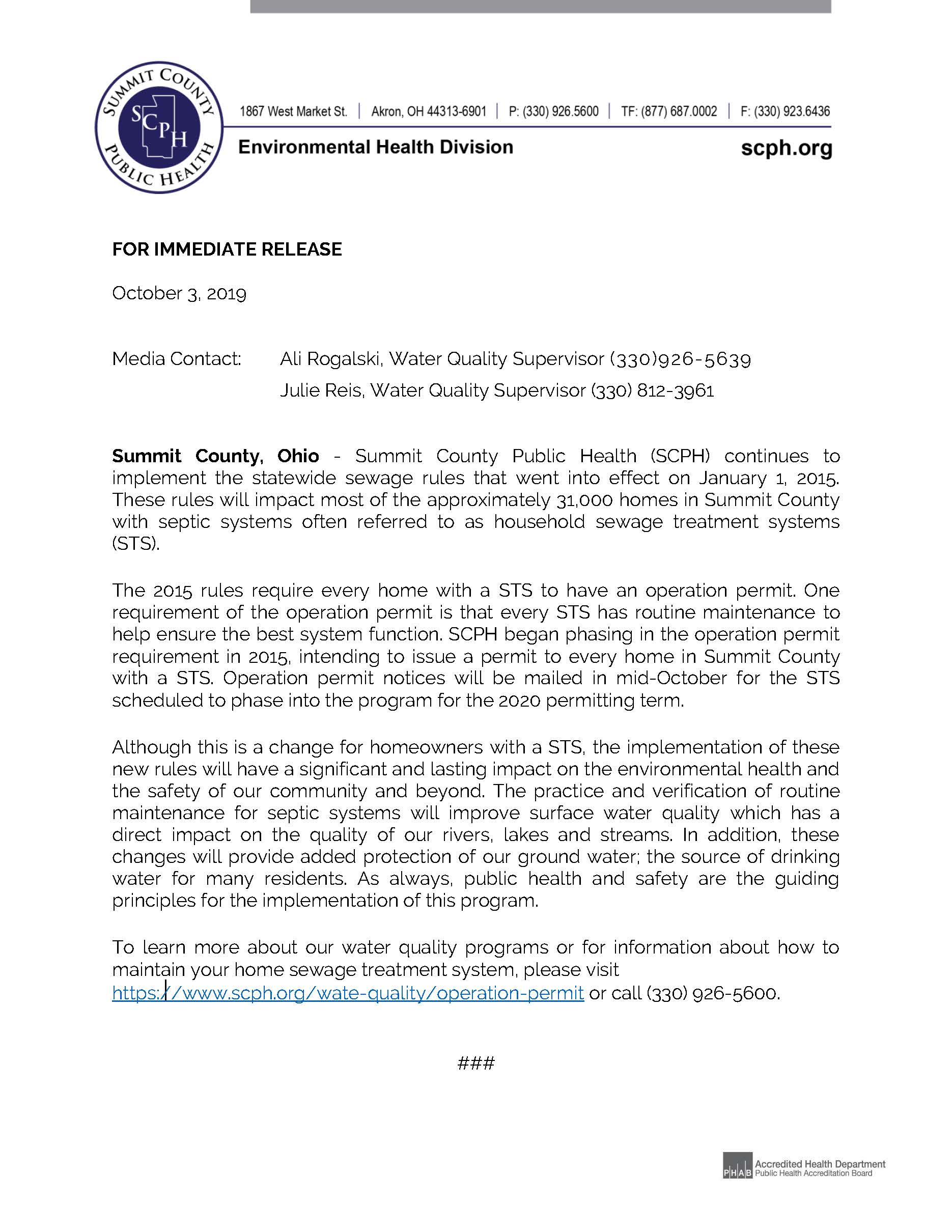 2019 Operation Permit Press Release